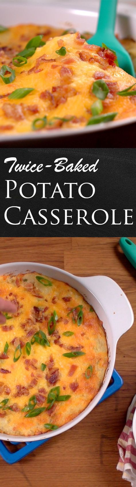 Twice-Baked Potato Casserole Recipe | Here's a side dish of all side dishes mixing potato, cheese, sour cream, spices, and bacon! And you bake it all up in a casserole dish. Click for the video and recipe. #familydinner #homecooking #sides