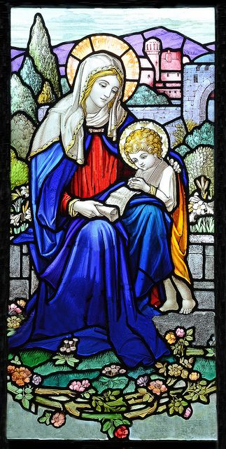 Madonna and Child Jesus by William Morris, Blessed Virgin Mary, Christon, Somerset, UK.  In the South wall is this beautiful window by William Morris depicting St. Mary patron saint of the church.