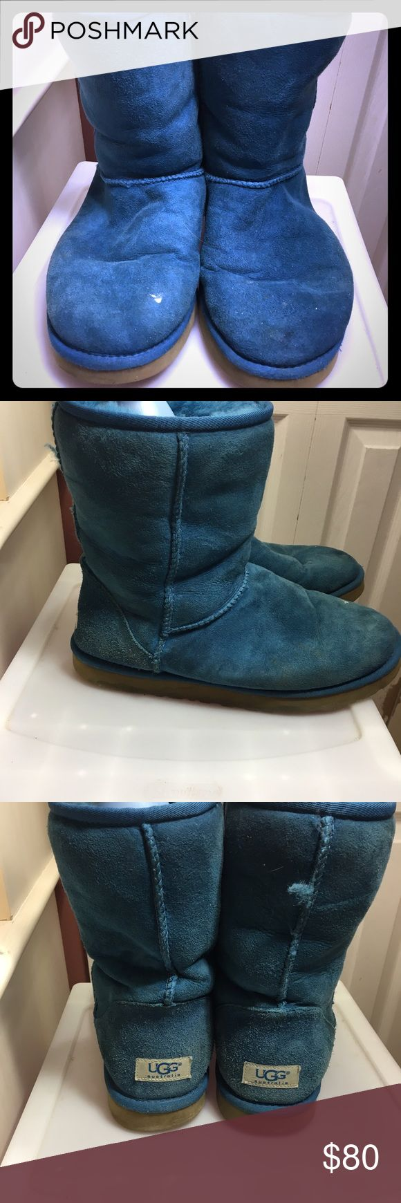 Bright Blue Ugg Boots These boots are in good condition and keep you very warm during the cold months. The bright blue brings a pop of color to your look! They are worn out but still able to be worn. UGG Shoes Winter & Rain Boots