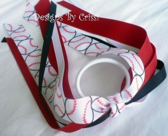 Softball Baseball Ponytail Holder Streamer Ribbon Bow, Choose your ribbon colors and team colors