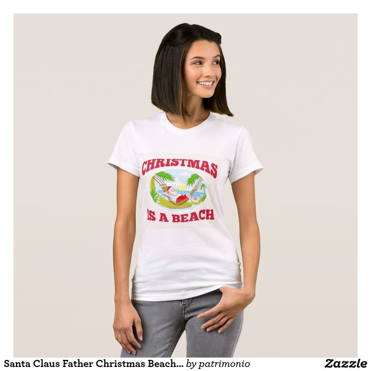 Santa Claus Father Christmas Beach Relaxing T-Shirt. Women's t-shirt designed with a sketch style illustration of Santa Claus relaxing on a hammock at a tropical beach. #tshirt #Christmas #SantaClaus