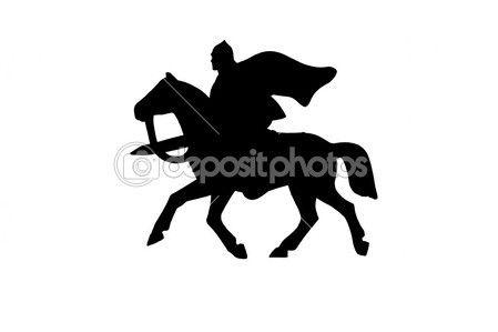 Силуэт средневековый рыцарь на коне — стоковое изображение #12898725