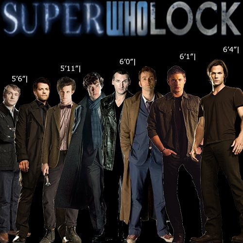 SuperWhoLock actors and their heights. Jared Padalecki stands almost an entire foot about Martin Freeman!