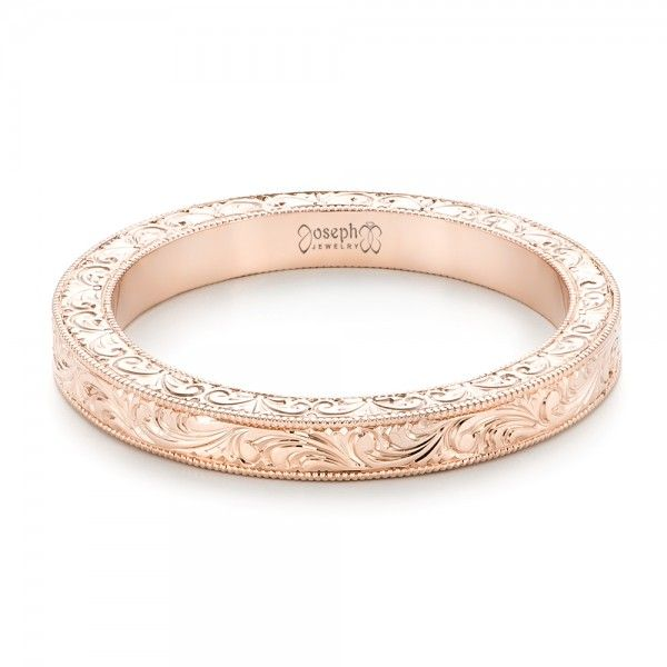 rose gold hand engraved wedding band - Wedding Ring Gold
