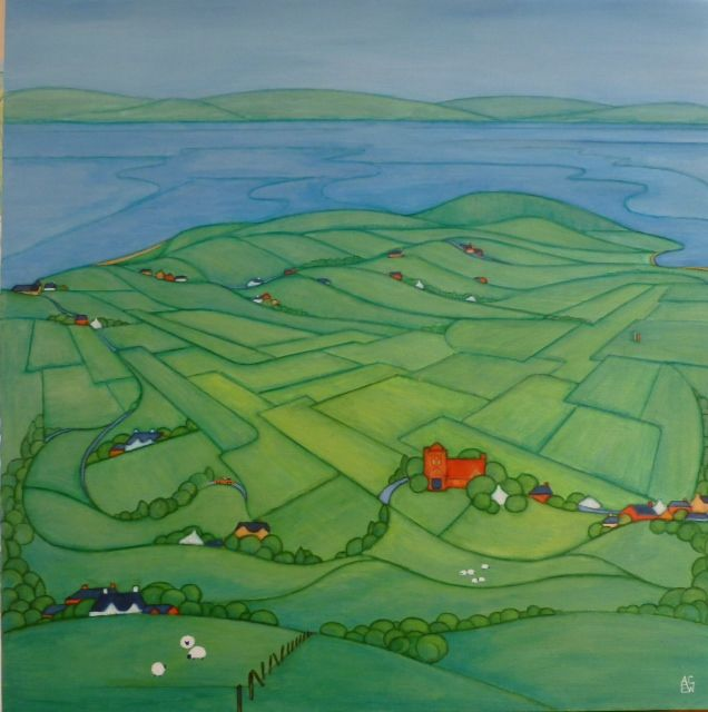 This Scottish original painting was commissioned for a wedding here on Arran. The Special Day, Shiskine, Arran. Marriage in Shiskine church, the drive to the Kinloch for the reception and Machrie Bay, a favourite place, were all included in this commission
