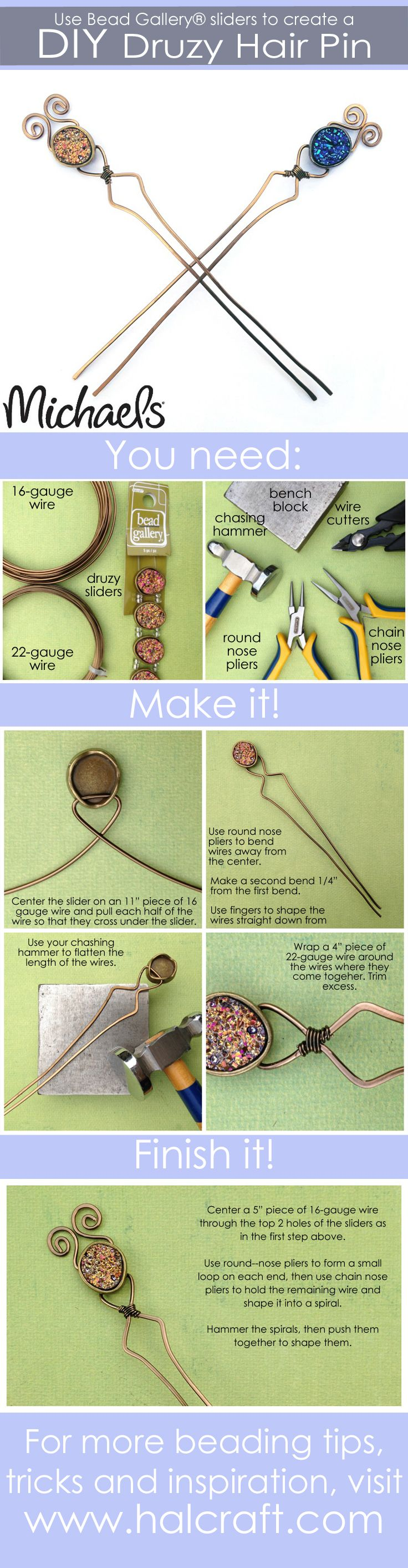 DIY druzy hair pins - Click for instructions to make your own! #madewithmichaels #BeadGallery