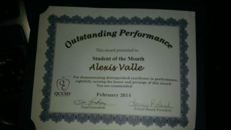 Mi hermosa Princesita, Alexis ganando un certificado como estudiante del mes de Febrero/2014 del Distrito Escolar de Queen Creek, Felicidades mi Reyna!!! Que orgullosa me siento por tus logros, sigue adelante !!!