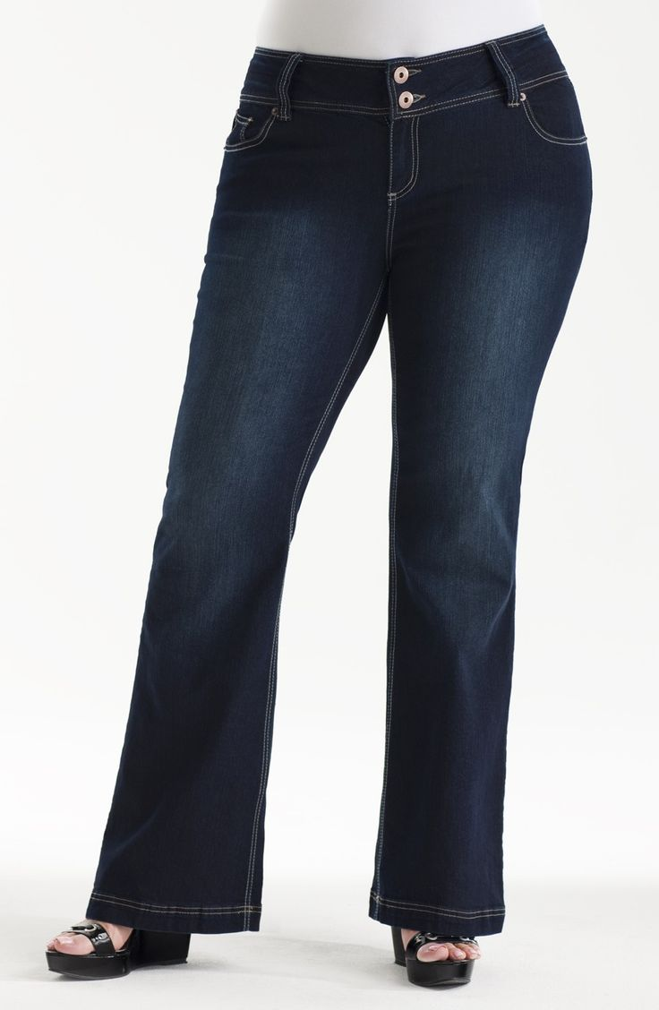 5 pocket stretch light weight denim bootleg jean/indigo Style No: J3018 Stretch denim 5-pocket bootleg jean. This staple jean has a wide waistband and lurex thread decoration on the back pockets...very cool!  #plussize #dreamdiva #dreamdivafiles #fashion