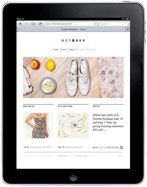 October Boutique - website design