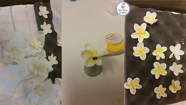 Fondant/Gumpaste Frangipani dusted yellow. pic Tutorial
