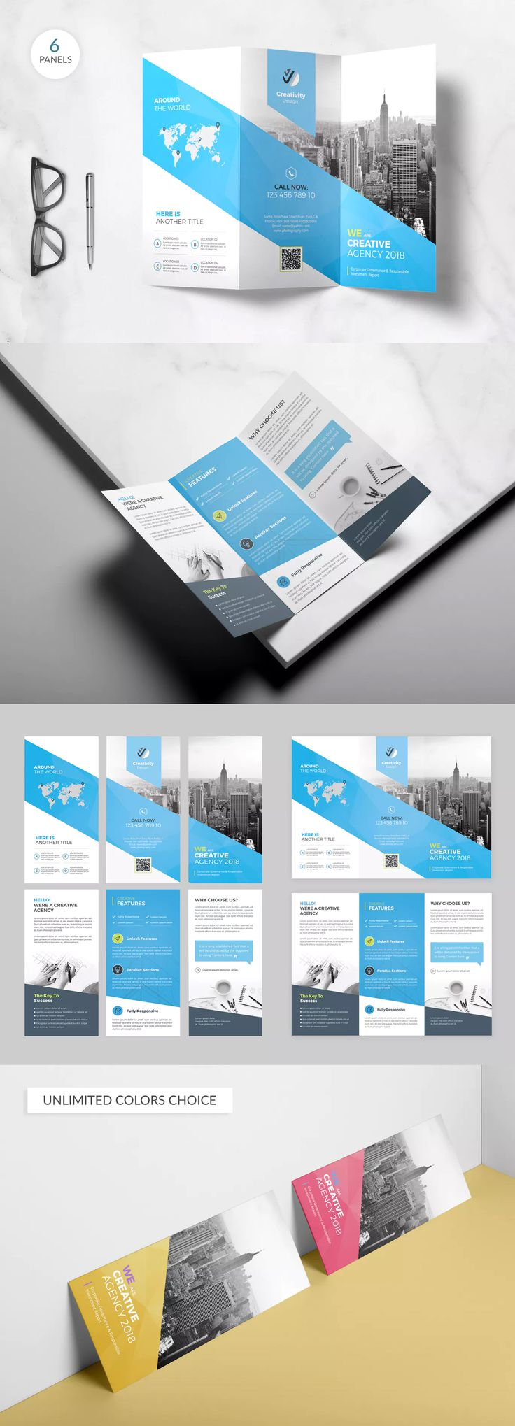 Trifold Brochure Template PSD - A4 - This template gives you a powerful source of information in a great look to have a strong, visually pleasing brand, easy to edit text, images, and elements.