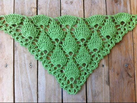 Châle original feuilles en relief / chal en crochet ojas en relieve ~ **Free Crochet Video Tutorial Pattern in French**