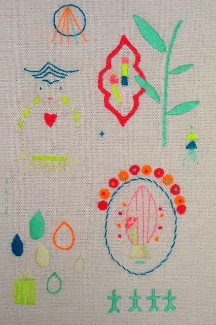 Leonor Barreiro stitching in bright colors