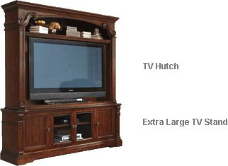 Ashley Alymere Extra Large TV Stand with Hutch - With the rich rustic brown finish flowing beautifully over the scrolling ornamental detailing and elegant stacked moulding style, the Alymere entertainment collection offers a rich traditional design to enhance the decor of any home while giving you the function and storage you have been looking for in any entertainment furniture.