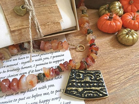 First Anniversary gift Meaningful one of a kind gift gift for wife Artisan necklace & Personalized love letter Thanksgiving gift for her