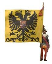 Spain / Battles, Knights.. CharlesV - Para representar al Rey, solían llevar la bandera con la enseña de los austrias, que era de seda amarilla (uno de los colores de los Austrias) con el Escudo imperial bordado..:Ejército de tierra:.