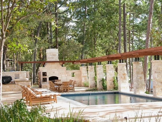 Advertisement  Swimming Pool and Patio    The swimming pool and patio area is the ideal spot for summertime grilling and outdoor entertaining. A limestone fireplace adds a soft, romantic glow and makes night dining an intimate occasion.