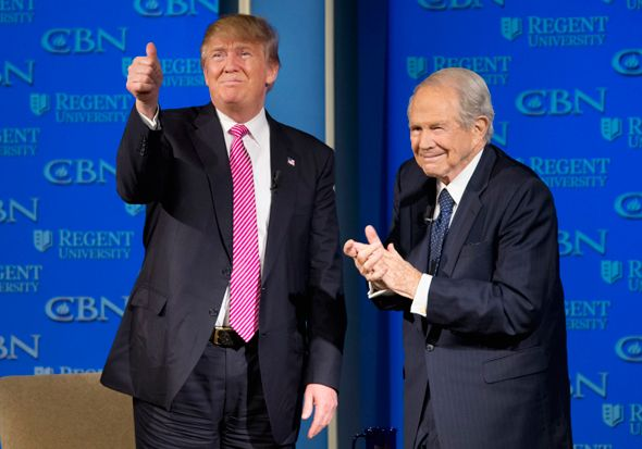 The Christian right, which for decades has been laying the foundation for a fascism disguised as religious, is swiftly filling the president's ideological vacuum. (Above, President Trump with the Rev. Pat Robertson.) - 2017/07/23