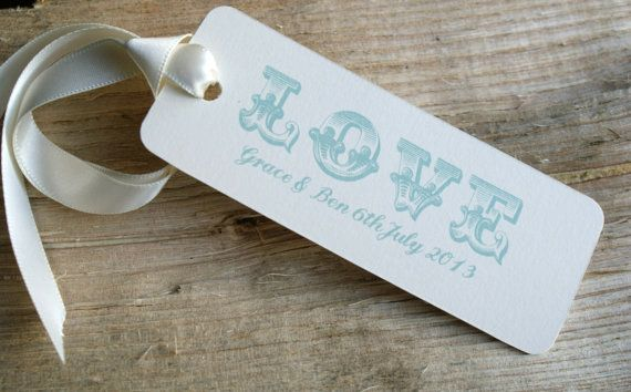 Duck egg blue wedding favour tags