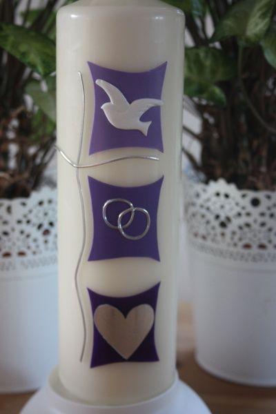 Hochzeitskerze, Traukerze Symbole im Quadrat von Lichtblicke-Kerzen auf DaWanda.com