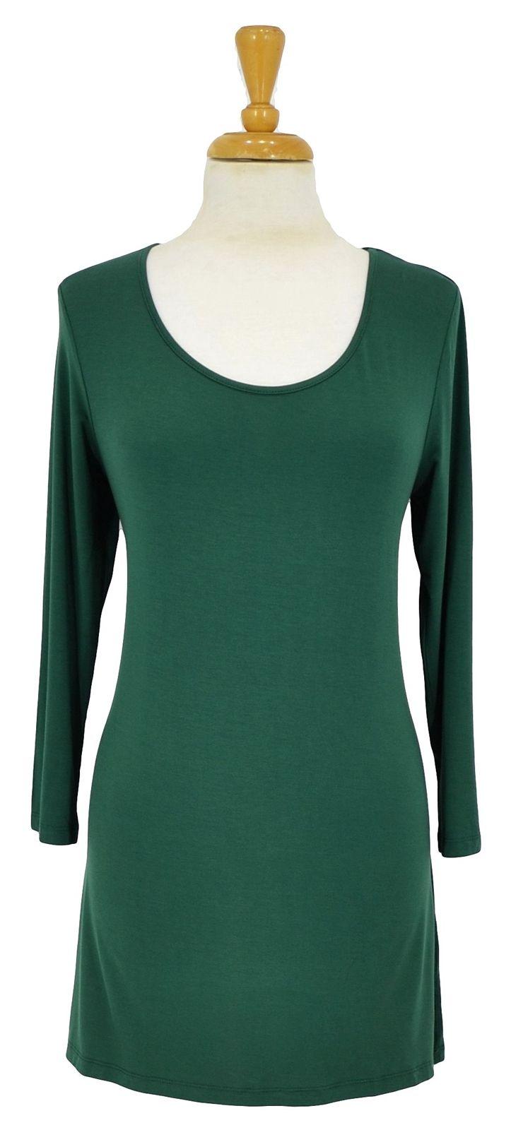 Green 3/4 Sleeve Basic ~ Best selection of Tunics & matching accessories ~ Flat postage worldwide ~ Petite to Plus sizes ~ www.ilovetunics.com