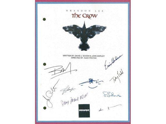 The Crow Movie Signed Script Autographed: Brandon Lee, Ernie Hudson, Michael Wincott, Bai Ling, Sofia Shinas, David Patrick, Jon Polito