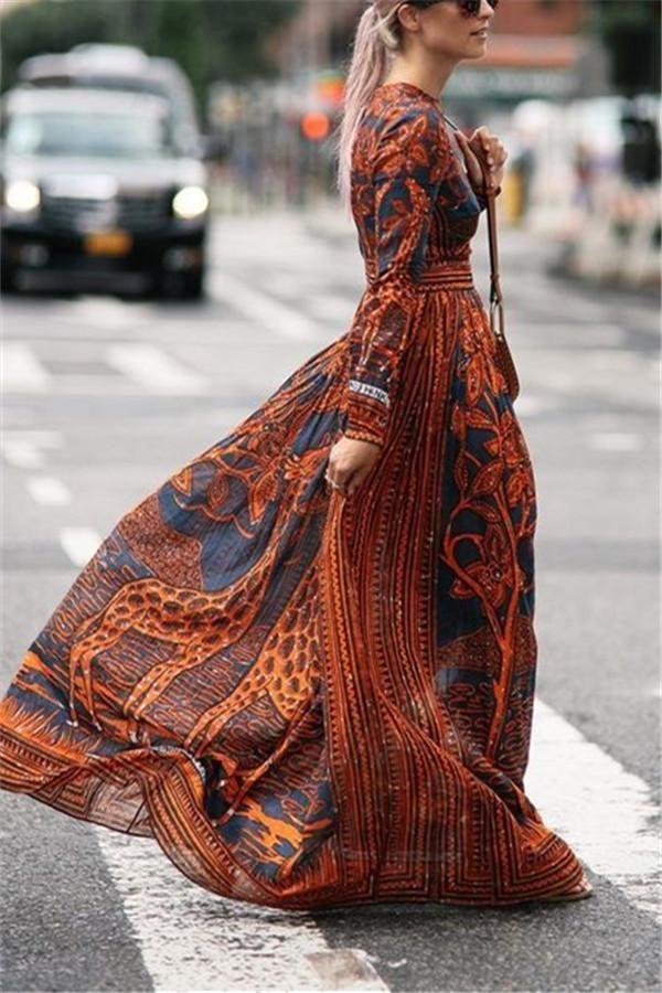 8ef9cca9916 Chiffon Print Long-Sleeved Vintage Maxi Dress #chicokay #maxidress  #maxidressesstunning