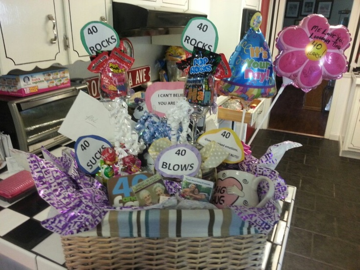 Mel39s 40th Birthday Gift Basket 40 Sucks Container