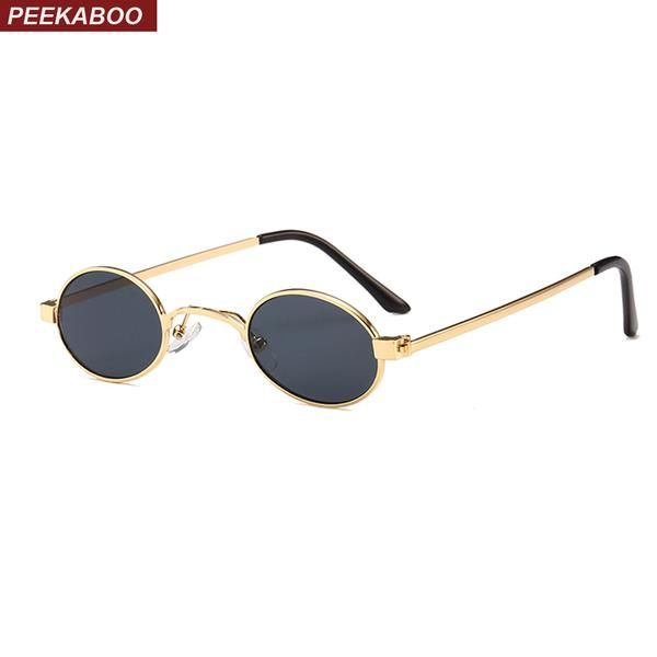 9c175fa1bb  FASHION  NEW Peekaboo small oval sunglasses men round 2018 metal frame  unisex gold black red small sun glasses for women round uv400