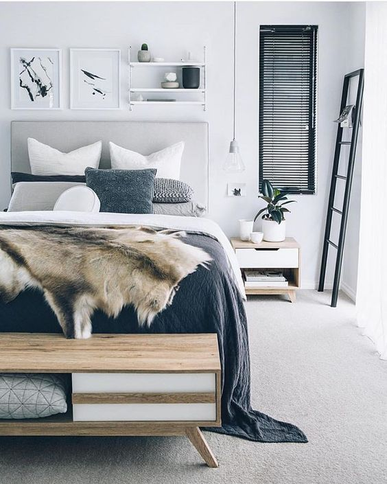 Navy and grey bedroom