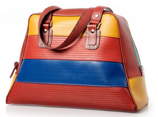 This great looking bag is made of recycled fire hoses.