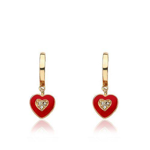 """Little Miss Twin Stars Girls' """"I Love My Jewels"""" 14k Gold-Plated with Red Enamel Heart Dangle Hoop Earrings"""