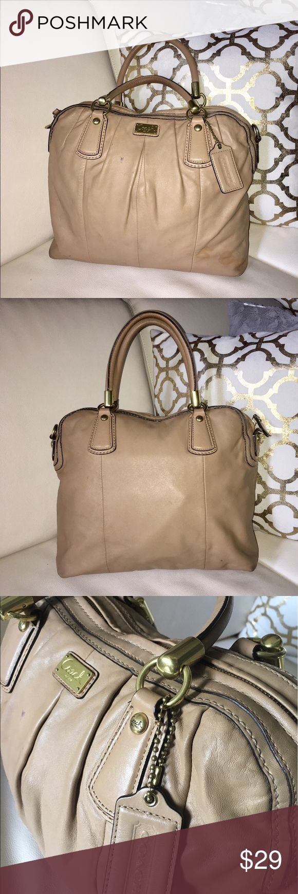 "Authentic Coach Kristin Pleated Taupe F15339 Authentic Well Love Coach satchel handbag its been used  lot signs of wear inside out stain in the bottom corners a well as pen marks THE PRICE REFLECTS THE CONDITION CHECK PICS  13""(W) x 11.5""(H) x 4.5"" (D) 016547657 Coach Bags Satchels"