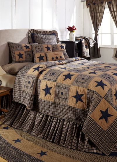 Vintage Star Navy Primitive Quilt Set, Bedding from Allysonsplace.com