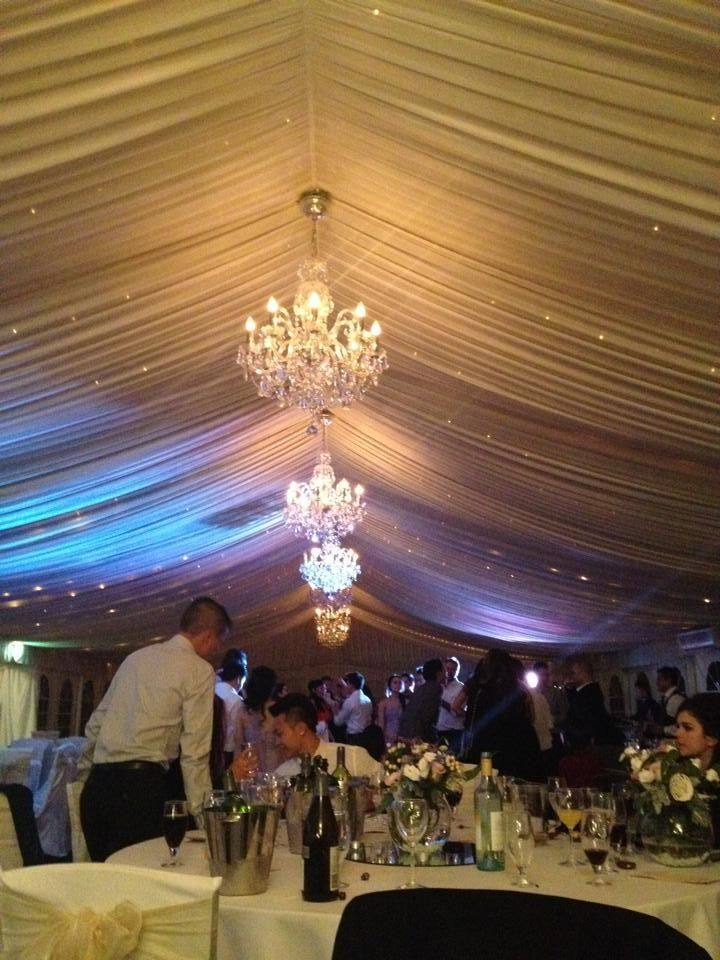 Chandeliers in the marquee
