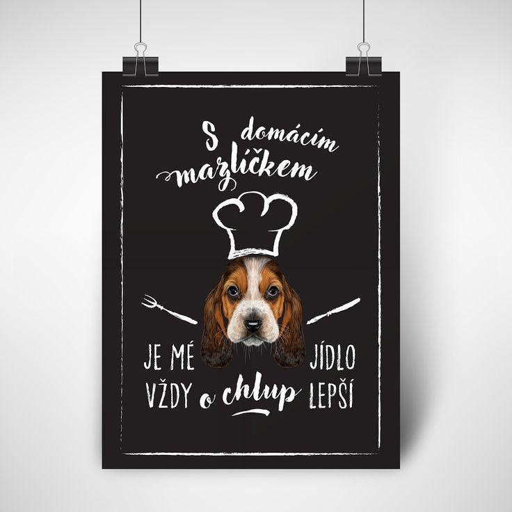 """Plakát """"O chlup lepší""""- varianta pes. Máte doma chlupatého mazlíčka? Tyto vtipné plakáty pro majitele pejsků popisují situaci, kterou asi důvěrně znáte: """"S domácím mazlíčkem je mé jídlo vždy O CHLUP lepší."""" Proč to nebrat s humorem a nevarovat případnou návštěvu předem.  ♥ Vhodné jako originální dárek. ♥ Pokud zatoužíte mít tento plakát doma, napište mi zprávu :) ♥ Tištěno na matný plakátový papír. ♥ Dodáváno v tubusu, bez rámečku. ♥ 240,-Kč/ks + poštovné."""