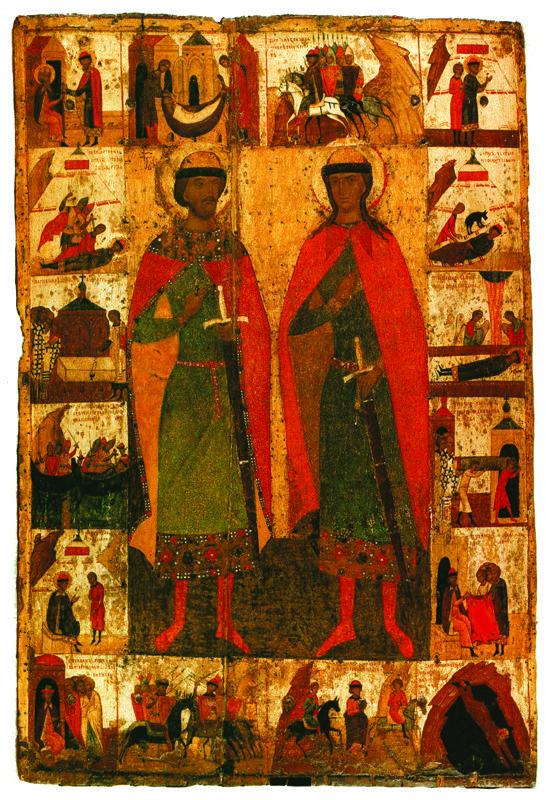 XIV в.  Борис и Глеб с житием..