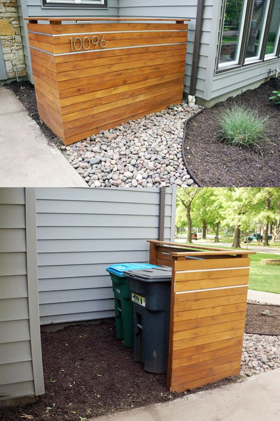 This cedar plank screen wall is a nice backdrop for our plantings but its primary purpose is to hide the garbage and recycling dumpsters.