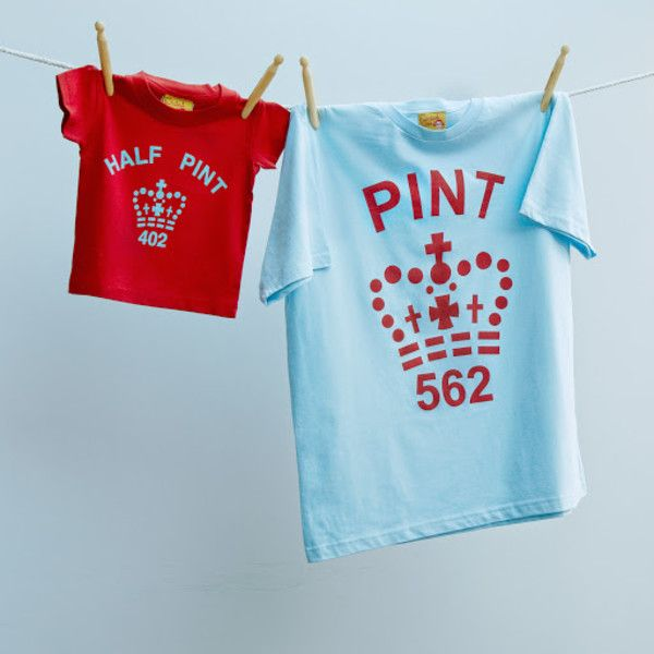 Matching pint and half pint t-shirt set for dad and son or daughter - Pale Blue and Red