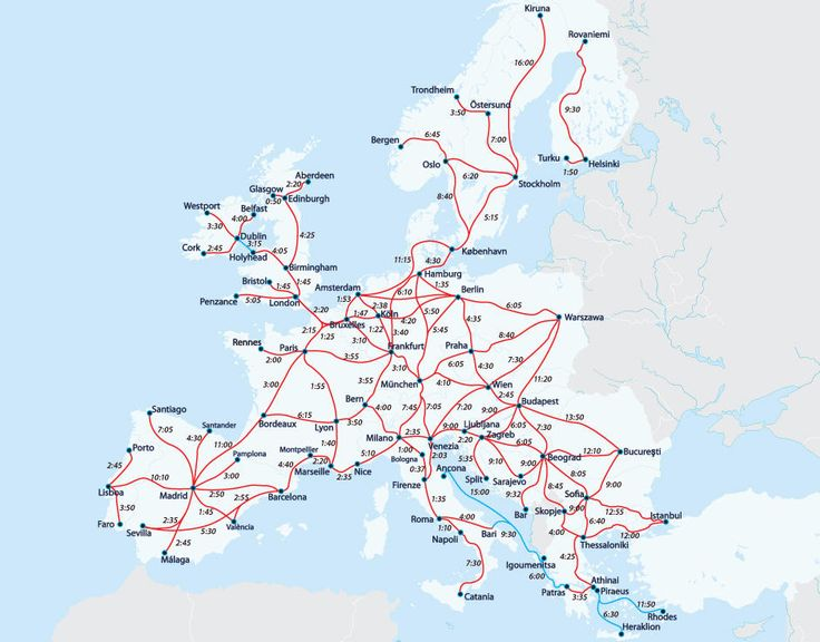 Railway map with travel times between European cities - Travelling with an Interrail Pass Every train route on this map can be traveled with an Interrail Pass, although some trains need an advance reservation. You'll get a detailed printed railway map for free with every Interrail Global Pass.