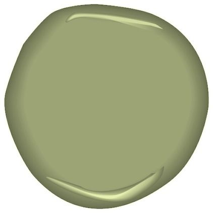 Paint by Benjamin Moore- Barefoot in the grass.  A more Grey Olive green, still with lots of yellow undertones.