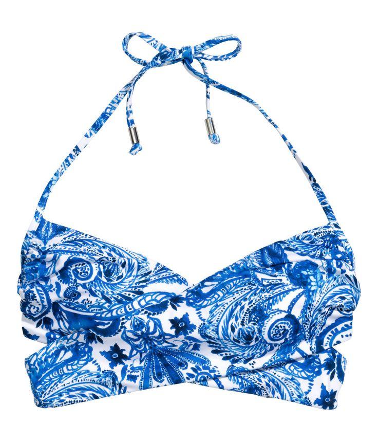 Wrapover bikini top with beaded ties and white & blue print