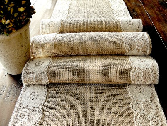 Natural Burlap and lace Table Runner Wedding Table Runner with country cream