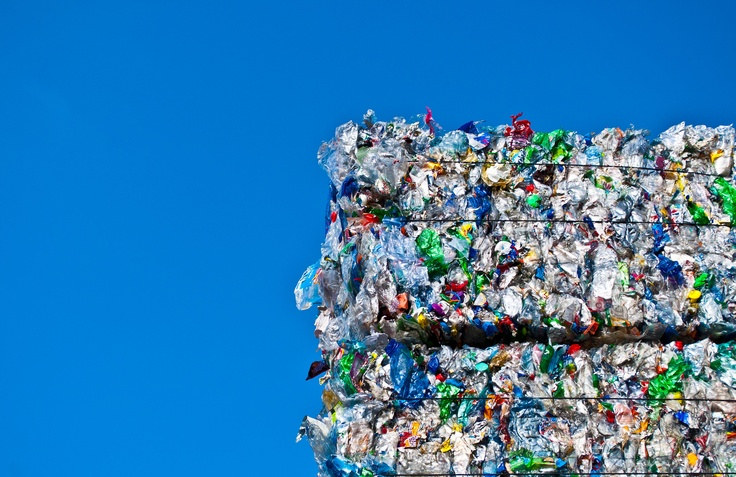 baled plastic waste recovered from the municipal solid waste stream.