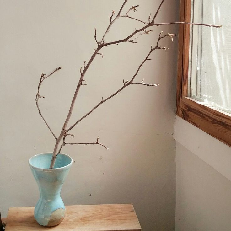 A simple branch is all you need for this stoneware vase to brighten up an empty corner of a room.
