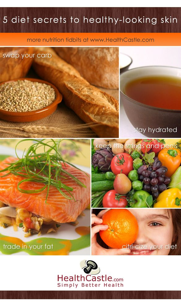 5 Diet Secrets to Healthy-Looking Skin via HealthCastle.com: Natural Skin, Skin Diet, Healthy Skin, Healthylook Skin, Healthy Looks Skin, Healthy Recipes, Food Secret, Healthy Food, Diet Secret