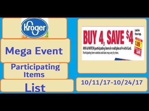 Kroger Mega Event Participating Items List- 10/11/17-10/25/17 - (More info on: http://LIFEWAYSVILLAGE.COM/coupons/kroger-mega-event-participating-items-list-101117-102517/)