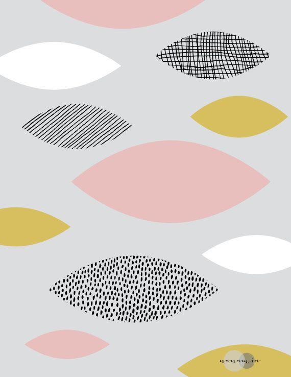 Sticker géométrique estampe Pastel des formes Art par nanamiadesign