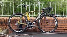 Specialized has provided Rigoberto Urán (Omega Pharma-QuickStep) with this custom - and all-new - S-Works Tarmac, resplendent in the colors of his native Colombia, for the 2014 Giro