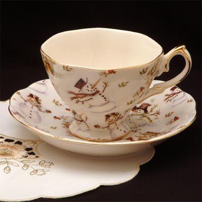 The Twiggery - Tea Party - tea, snowman, snowman teacups, teacups, porcelain teacups